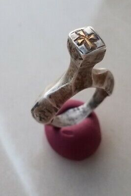 Unique Medieval Crusaders Era Templar Silver Ring Niello Gold Cross 11-14century