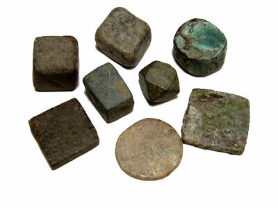 LOT OF 8 pcs. ROMAN AND BYZANTINE COIN WEIGHTS, AS FOUND+++