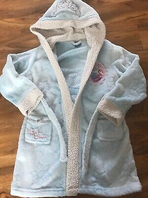 Girls Disney Elsa And Anna Frozen Hooded Dressing Gown With Tiara Age 8