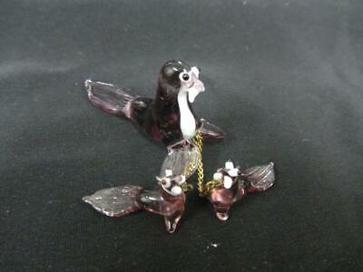 Vintage Blown Glass Purple Sea Lion With 2 Chained Cubs