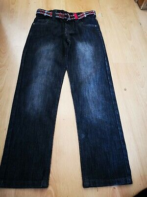 Boys denim & Co black/grey jeans with belt age 8-9