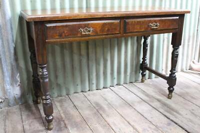 An Arts & Crafts Hall Table or Desk with Brass Feet & Concealed Castors