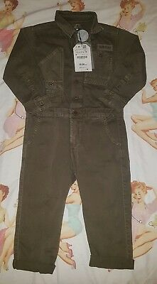BNWT Boys Zara Jumpsuit All In One Jeans Dungarees Outfit Age 4