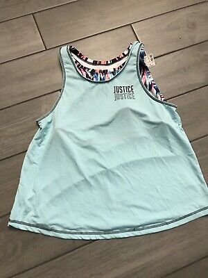 New Girls Blue Active Tank Top Built In Sports Bar By Justice Size 16