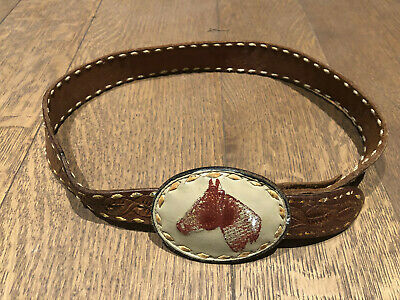 Vintage TONY LAMA Belt & Buckle Brown Horse Cowboy Leather Boys Mens size 28-31""