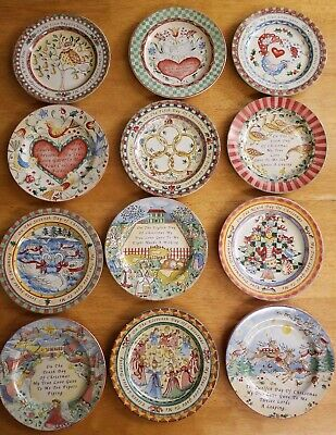 222 Fifth Complete Set 12 Days of Christmas Salad Dessert Plates NEW W/Box