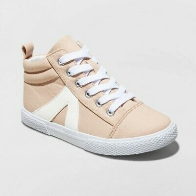 Cat & Jack Youth Girls Size 5 Canvas Mid Top Fashion Sneakers Blush Pink White
