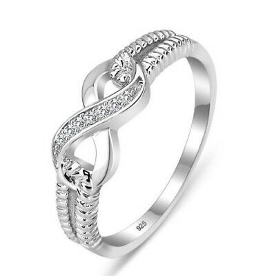 Women 10KT White Gold Filled Ring White Topaz Birthstone Engagement Jewelry #11