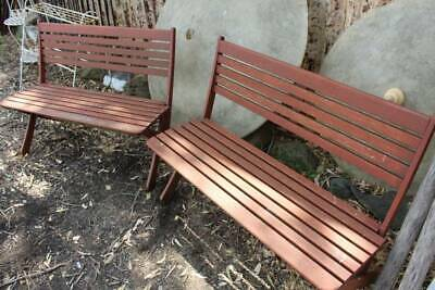 A Pair of Vintage Out Door Slatted Timber Bench Seats