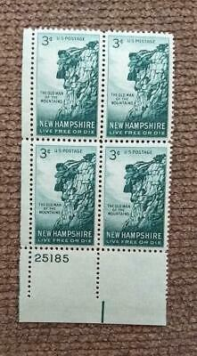 Scott # 1068 - US Plate Block Of 4 - Old Man Of The Mountains - 1955 3c
