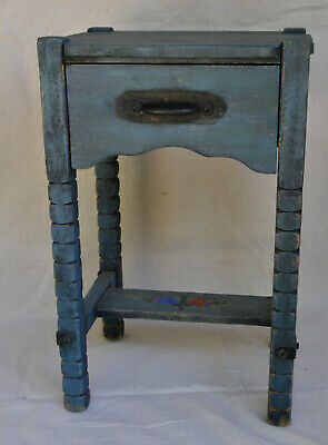 Rare Blue Early Monterey Furniture Bedside Table