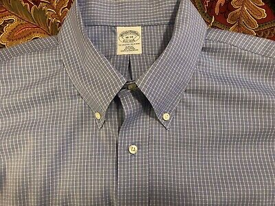 BROOKS BROTHERS DRESS SHIRT 18x34 BLUE Plaid REGENT SLIM FIT NON IRON