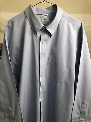 BROOKS BROTHERS DRESS SHIRT 18x34/35 BLUE REGENT SLIM FIT NON IRON
