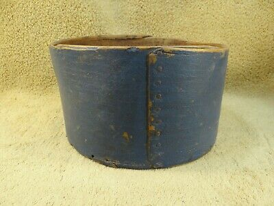 Early Antique Old Dark Blue Painted Wooden Pantry Measure Box