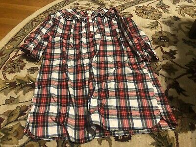 J. Crew Crewcuts Girls Stewart Plaid Flannel Nightgown Size 12 Red Multi Color