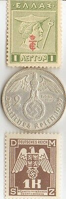 ***WWII -  Antique. silver - 1937 - *germann   EAGLE  coin + wwi - *greek stamp