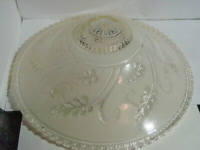 Vintage 1930's 40's Ceiling Light Fixture:made of frosted glass