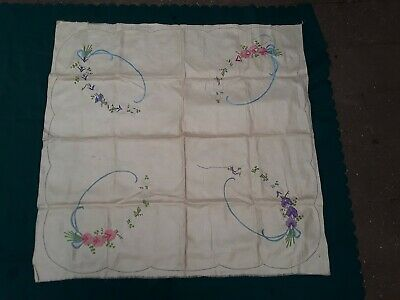 Vintage Embroidered Table Cloth To Complete Pure Linen Sweet Peas