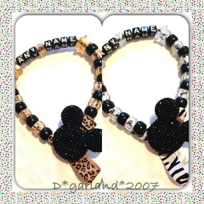 Personalised Dummy Clip Saver Bling Minnie Mickey Mouse Leopard Zebra Print
