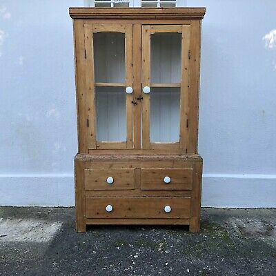 Antique Pine Glazed Dresser Display Cabinet with Drawers (Delivery is Extra)