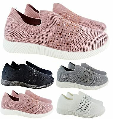 Ladies Womens Flat Diamante Fitness Gym Sport Sock Sneakers Trainers Shoes Size
