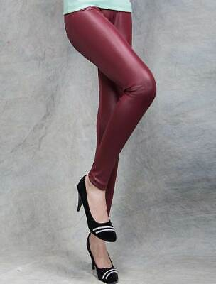 Womens Wine Skinny Wet Look Faux Leather Leggings Trousers Shiny Bottoms 6 - 10