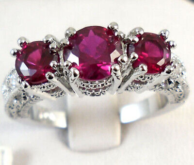 10KT White Gold Filled Rose Pink Sapphire Women Wedding Band Ring Jewelry Sz 10