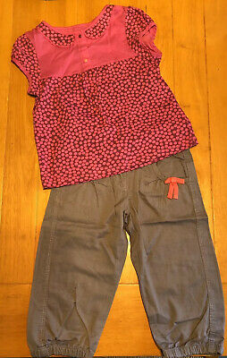 Girls Grey Crop Trousers And Pink Top. Age 8 Years. Vertbaudet Brand