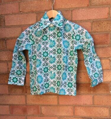 Vintage Retro Authentic 60's/70's Kids Clothes Shirt Green Hippy Age 8