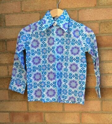 Vintage Retro Authentic 60's/70's Kids Clothes Shirt Blue Hippy Age 10