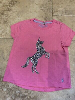 Joules Girls Pink Unicorn T Shirt Sequin Age 3-4 Years