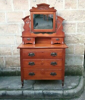 Edwardian Satinwood Dressing Table /Chest Of Drawers