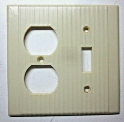 Leviton 2 Gang Combo Switch Outlet Wall Plate Cover Ribs Beige Bakelite Vintage