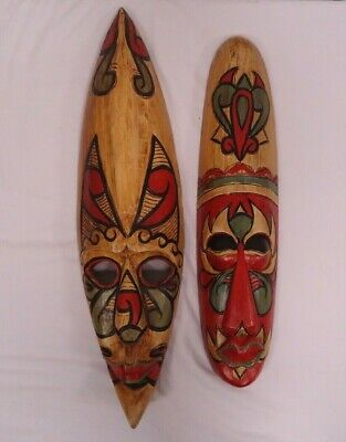 Pair of Painted Wooden Ethnic Wall Hanging Masks (E3)