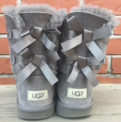 Ugg Bailey Bow Boots Gray Big Girls Size 6 Women's Size 8