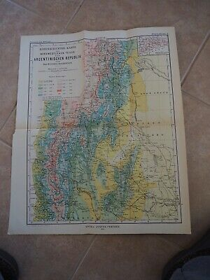 "Antique Map ""Elevation Map of Northwestern Part of Argentine Rebulic"" German"