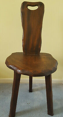 Sturdy Antique Three Legged Wooden Rustic Spinning and/or Milking Chair