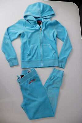 Juicy Couture Girls Velour Tracksuit, Size Age 8 Years, Blue, GC