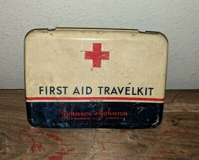Vintage Johnson & Johnson First Aid Travel Kit Metal Tin Red White Blue Box