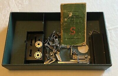 Antique Singer Featherweight 221 Type II Tray Manual Feet & Bobbins Accessories