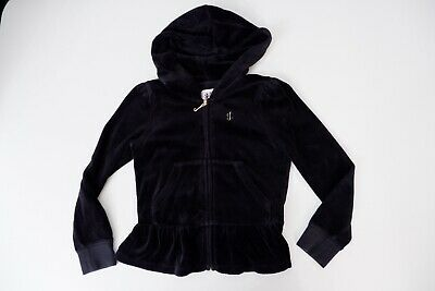 Juicy Couture Black Velour Hoodie Jacket Size S Age 4-5 Years Vgc