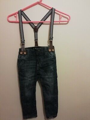 Boy's slim leg blue jeans and striped braces Urban Rascals 2 years height 92 cms