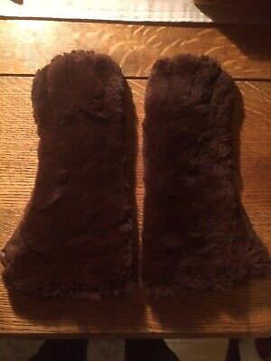 WW2 1940's ATS ARP Civilian Faux Fur & Leather Gauntlet Teddybear Gloves