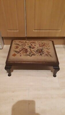 Vintage Tapestry Footstool With Queen Anne Legs