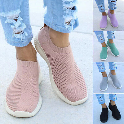 Womens Ladies Slip On Trainers Walk Go Sports Comfy Sock Sneakers Shoes Size