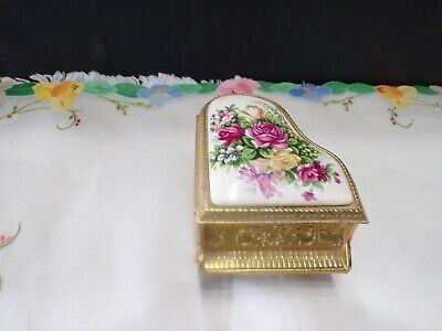 Vintage Piano Music/Trinket Box Wind Up, Floral Porcelain Top