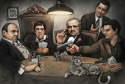 FAMOUS FILM GANGSTER PLAYING POKER POSTER Soprano Godfather Goodfellas Scarface