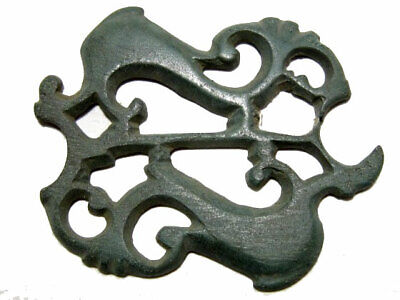 Outstanding Roman Bronze Open Work Mount Decoration, Two Dolphins+++