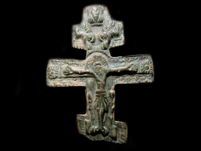 Authentic Antique Huge Russian Orthodox Icon Cross Fragment, As Found Condition+