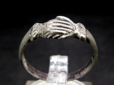 Rare Attractive Roman Silver Clasped Hands Ring, As Found+++